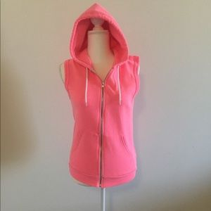 American Apparel Pink Sleeveless Hoodie
